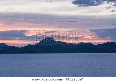 White Salt Flats with sunset near Salt Lake City, Utah