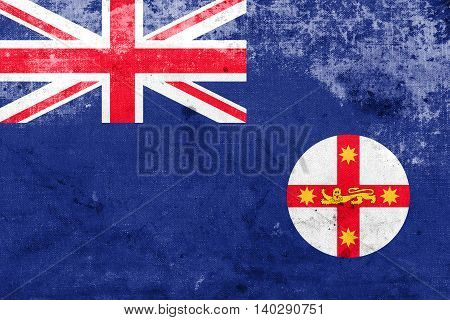 Flag Of New South Wales State, Australia, With A Vintage And Old