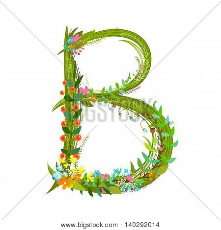 Flower intricate ABC sign B. Floral summer colorful intricate calligraphy design lettering element. Vector illustration.