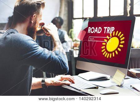 Road Trip Computer Excitement Business Concept