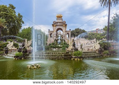 BARCELONA SPAIN - JULY 11 2016: Carro de la Aurora in Ciutadella park in Barcelona Spain.