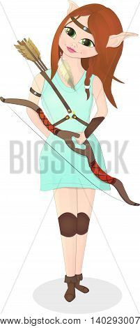 Elf girl with bow and arrows on the white background
