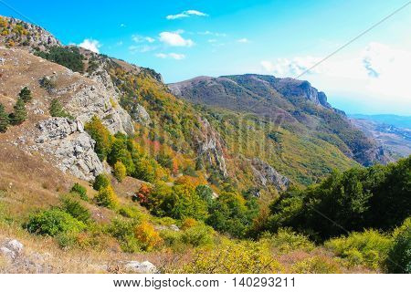 Crimean mountains. Mountains in Crimea at the sunny autumn day.
