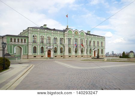 KAZAN, RUSSIA - APRIL 30, 2016: The Residence of the President of the Republic of Tatarstan, april day. The Kazan Kremlin. The main landmark of the Tatarstan