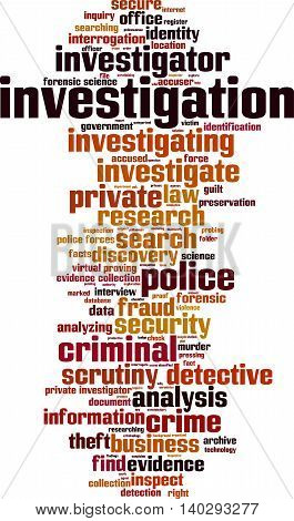 Investigation word cloud concept. Vector illustration on white