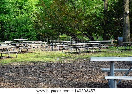 A picnic area with picnic tables under the shade of trees.
