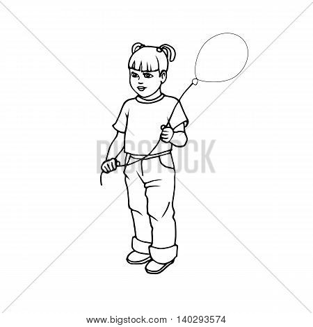 Vector illustration of a cute little girl with balloon on an isolated white background. Doodle picture.