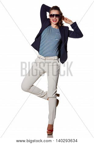 Cheerful Young Woman Having Fun Time Isolated On White
