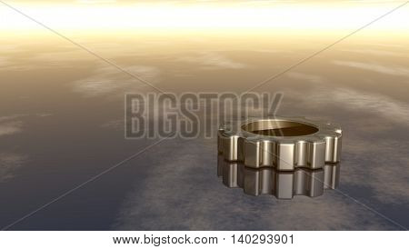 gear wheel on reflective surface - 3d rendering