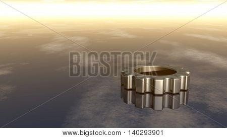 gear wheel on reflective surface - 3d rendering
