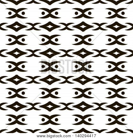 Elegant seamless black and white pattern with dots and graceful roundish figures. Vector illustration for fabric, paper and other