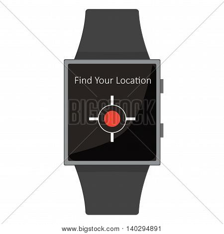 Smart Watch. Find Your Location. Cartoon Style. Flat Element.