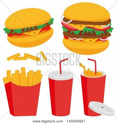 Burger, fried potatoes and drink vector illustration
