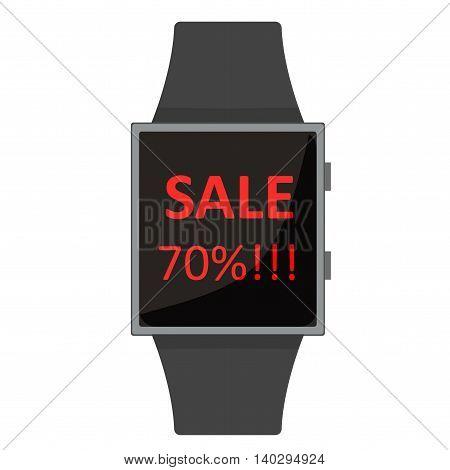 Smart Watch. Extra Sale. Cartoon Style. Flat Element. Vector Illustration.