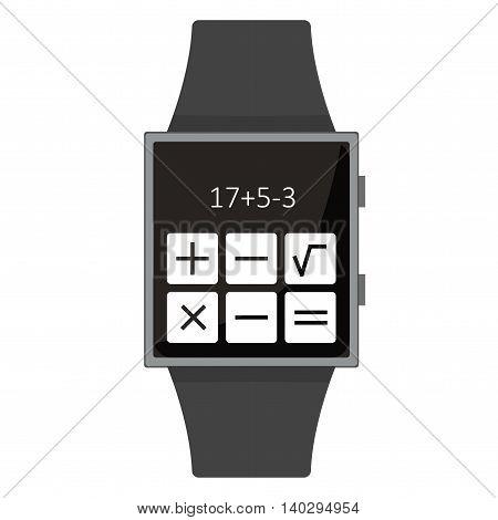 Smart Watch. Calculator. Cartoon Style. Flat Element. Vector Illustration.