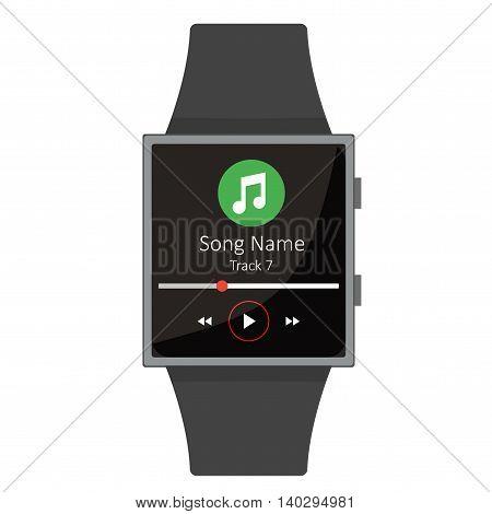 Smart Watch. Music Player. Cartoon Style. Flat Element. Vector Illustration.