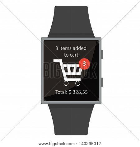 Smart Watch. Shopping. Cartoon Style. Flat Element. Vector Illustration.