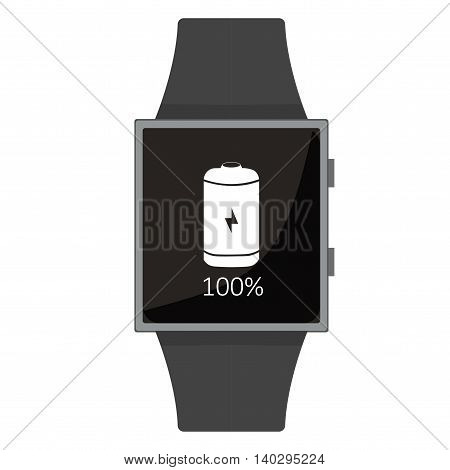 Smart Watch. Full Battery. Cartoon Style. Flat Element. Vector Illustration.