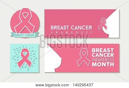 Breast Cancer Awareness Set Of Banners And Label
