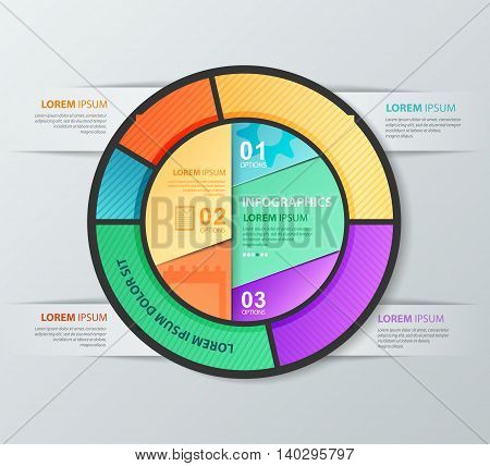 Infographic vector circle design template. Report template with icons. Workflow layout diagram web design.