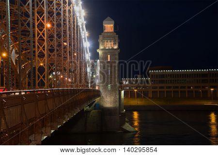 The Bridge of Peter the Great (Bolsheokhtinsky), june night. Saint Petersburg, Russia