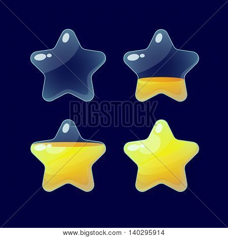 Vector illustration.Set of Cartoon glossy Stars.Star isolated on a dark background.Game icon.Vector design for app user interface and score display.Golden stars.Ranking game elements.For animation