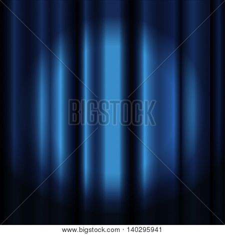 Blue theater curtain with spotlight -vector image