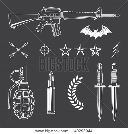 Set of elements for the military emblems. Graphic template. Vector illustration.