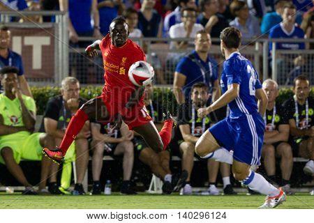 PASADENA, CA - JUNE 4: Sadio Mane during the 2016 ICC game between Chelsea & Liverpool on July 27th 2016 at the Rose Bowl in Pasadena, Ca.