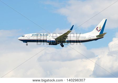 SAINT PETERSBURG, RUSSIA - MAY 17, 2016: Flying the Boeing 737-800 (VQ-BSS) of airline