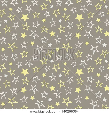 Seamless pattern with stars, hand drawing, party background, vector illustration