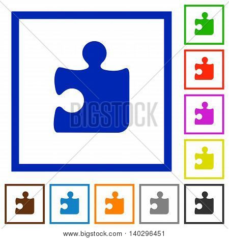 Set of color square framed Puzzle flat icons