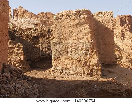 the abandoned ancient settlement of berbers in Atlassky mountains