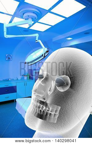 surgical interior with ghost 3d illustration