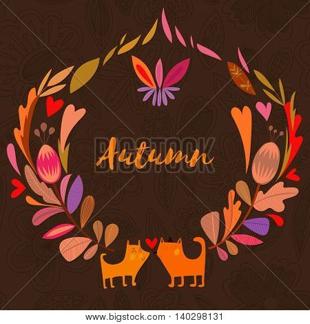 Nice Background In Autumn Colors With Vintage Fox. Vector Frame With Place For Text. Valentine's Day