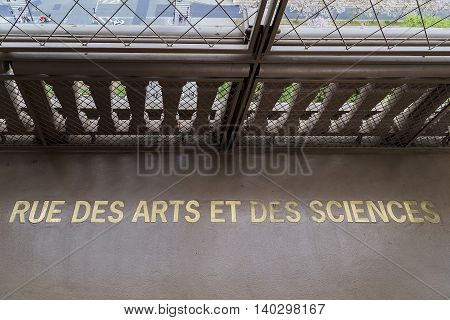 PARIS, FRANCE - MAY 12, 2015: This place is intended for the device of temporary exhibitions and has a permanent name.