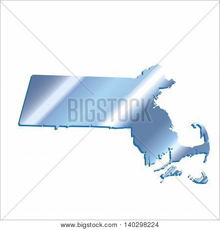 3D Massachussets (USA) Iridium Blue Boundary map with shadow