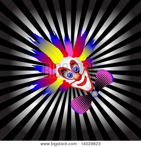 vector ray pattern black & white background with clown
