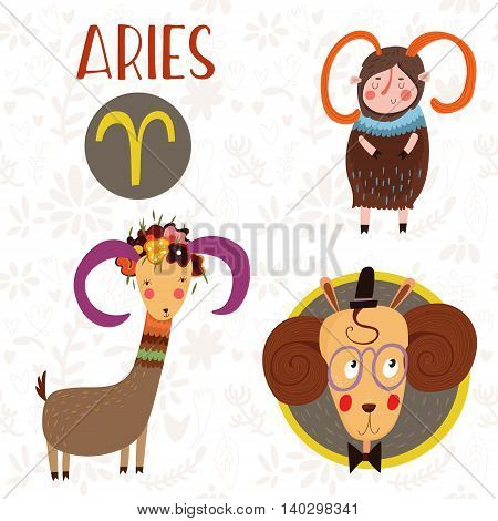 Cute Zodiac Sign-aries-different  Illustrations  In Cartoon Style. Lovely Design For Adults And Kids
