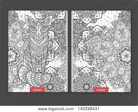 Ornament print for notebook fox. Beautiful illustration fox  for design, print coloring, polygraphy. Adult Coloring book. Hand drawn animal illustration. Lace fox and mandala ornamental page