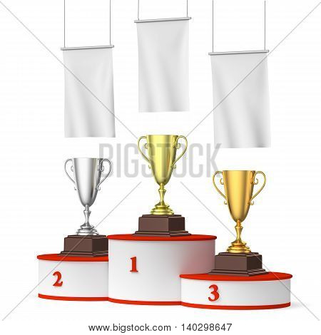 Round Winners Podium With Trophy Cups And Blank White Flags Right View