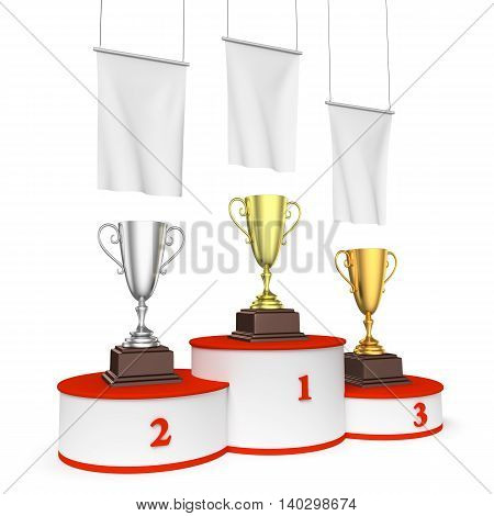 Round Winners Podium With Trophy Cups And Blank White Flags.