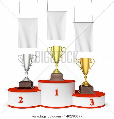 Round Winners Podium With Trophy Cups And Blank White Flags