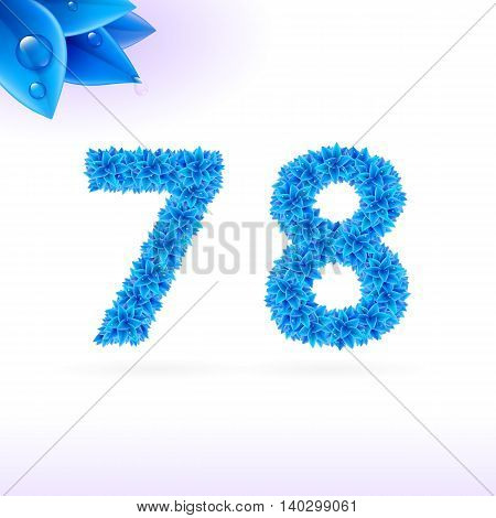 Sans serif font with blue leaf decoration on white background. 7 and 8 numerals