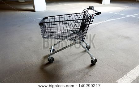 Trolley from the supermarket in the underground parking