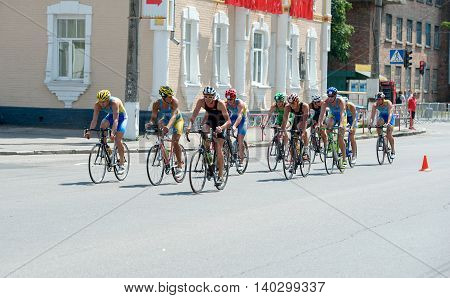 Triathlon Cup of Ukraine and Cup of Bila Tserkva. July 24 2016 in Bila Tserkva Ukraine. Bicycle racing