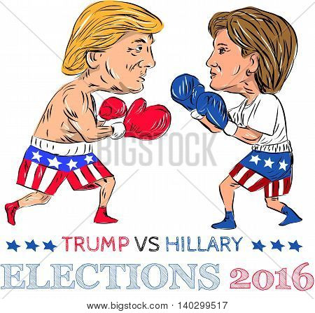 July 28, 2016: Illustration showing as a boxer Republican Donald Trump versus Democrat Hillary Clinton in a boxing match with words Election 2016 done in cartoon style.