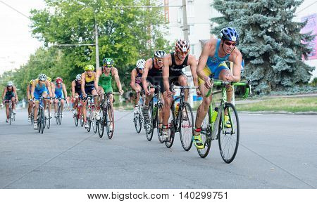 Triathlon Cup of Ukraine and Cup of Bila Tserkva. July 24 2016 in Bila Tserkva Ukraine. Bicycle racing part