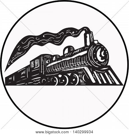Illustration of a steam train locomotive coming up viewed from low angle set inside circle on isolated background done in retro woodcut style.