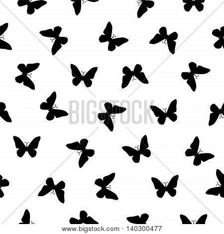 Vector seamless pattern - flat simple black on white butterflies